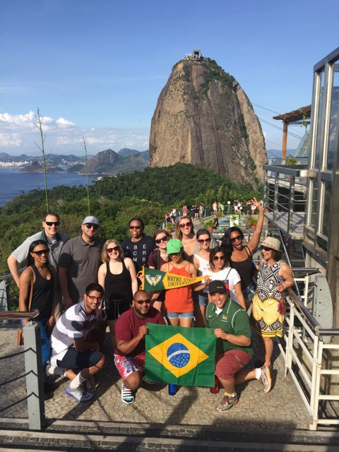 Wayne State University business students on a study abroad trip to Brazil.