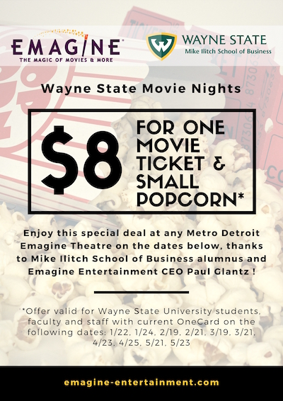 emagine offers discount to wayne state students faculty staff in