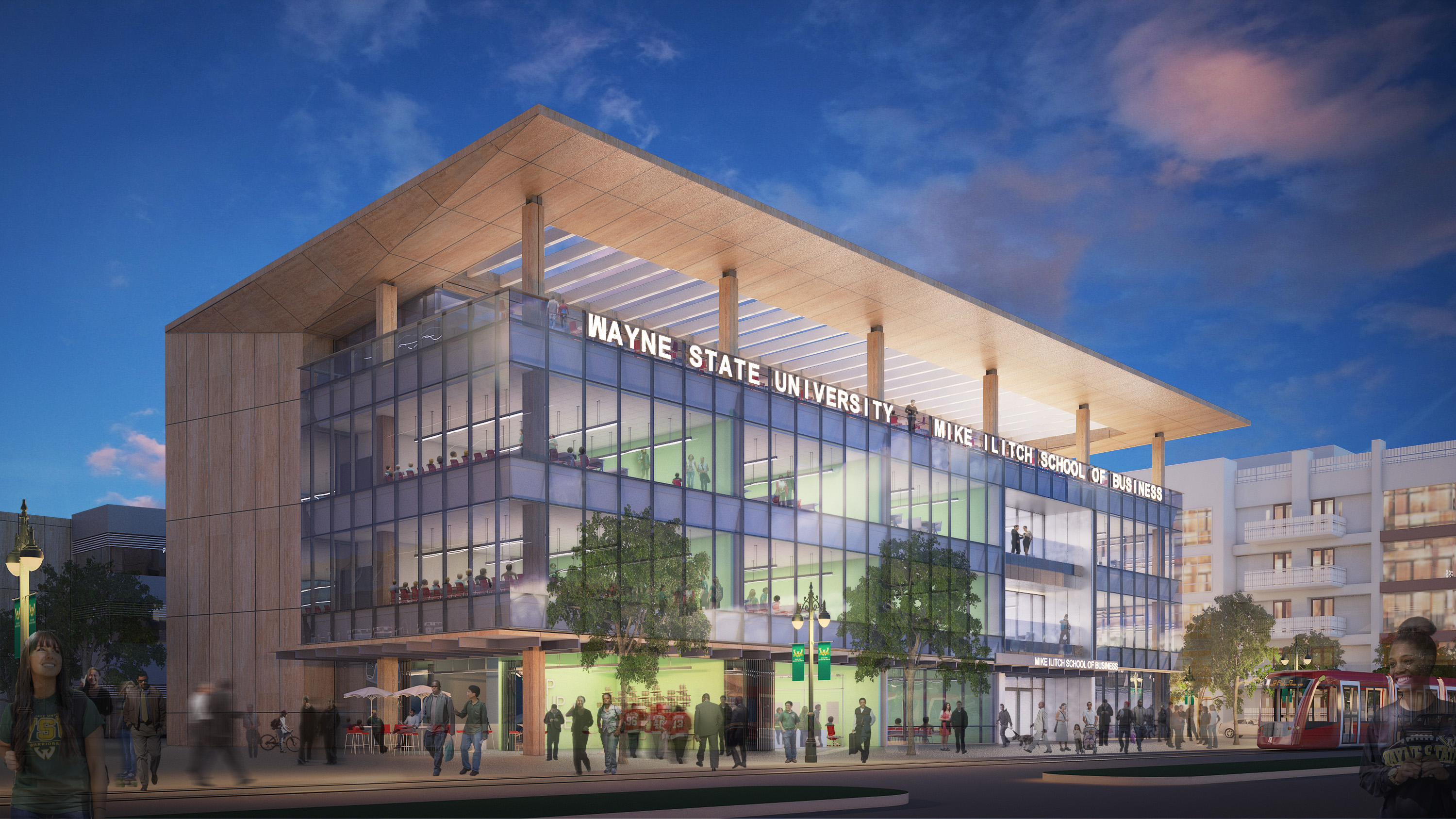 A rendering of the new Mike Ilitch School of Business in the District Detroit