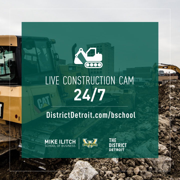 Watch as the new Mike Ilitch School of Business building comes to life in the District Detroit. Our live construction cam is up and running.