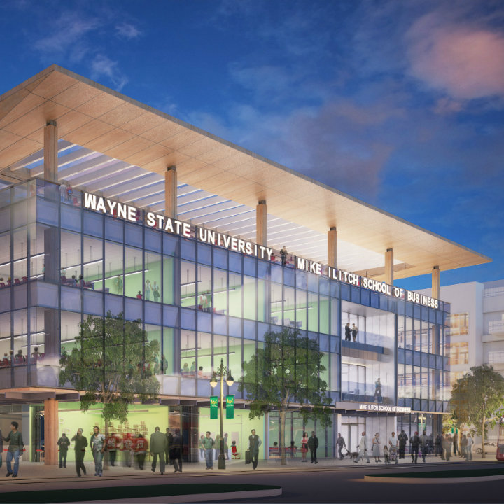 Mike and Marian Ilitch's landmark $40 million will build a new home for Wayne State's business school in the District Detroit.